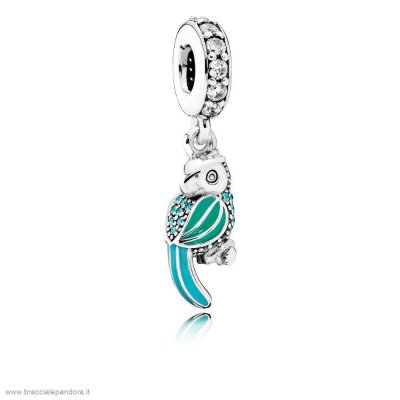 Pandora Animali Charms Tropicale Parrot Penzolare Charm Smalto Mistos Teal Clear Cz
